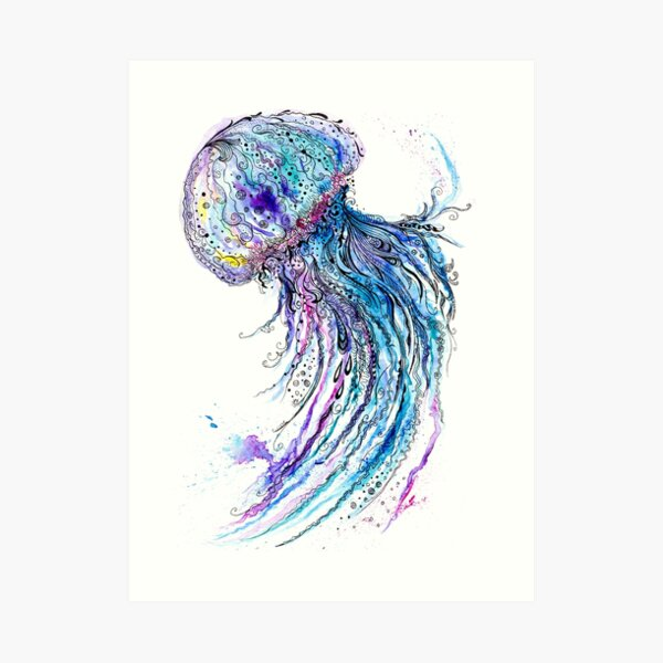 Jelly fish watercolor and ink painting Art Print