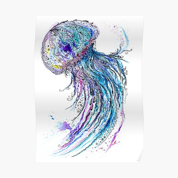 Jelly fish watercolor and ink painting Poster