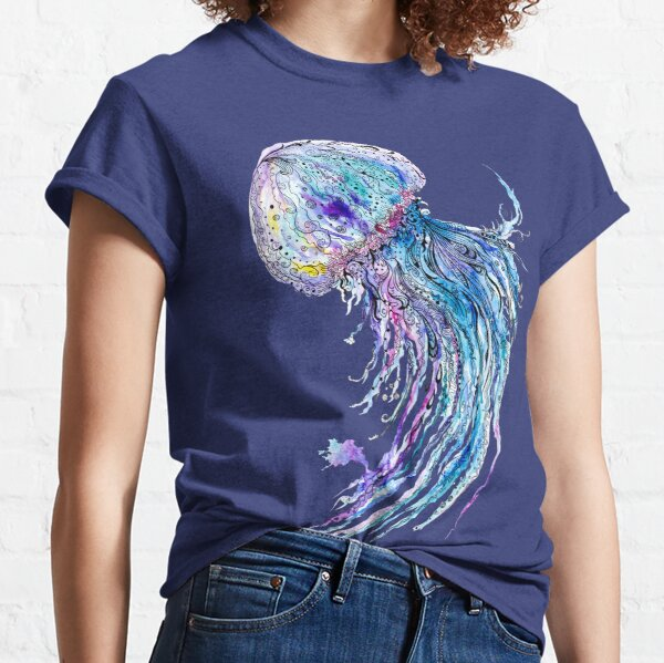 Jelly fish watercolor and ink painting Classic T-Shirt