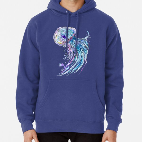 Jelly fish watercolor and ink painting Pullover Hoodie