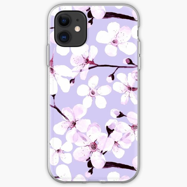 Cherry Blossom on grey/ lavender iPhone Soft Case