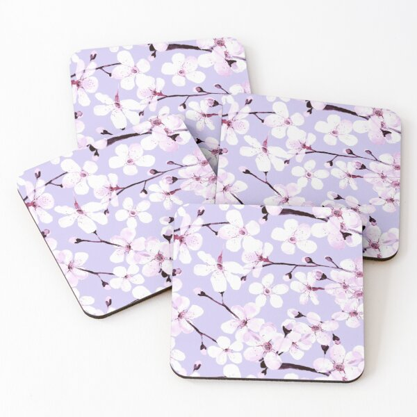 Cherry Blossom on grey/ lavender Coasters (Set of 4)