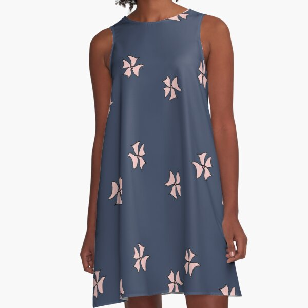 Flower Doodle LineArt Collection Seamless Surface Pattern A-Line Dress
