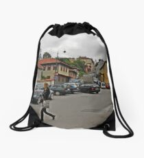 A streetscape Drawstring Bag