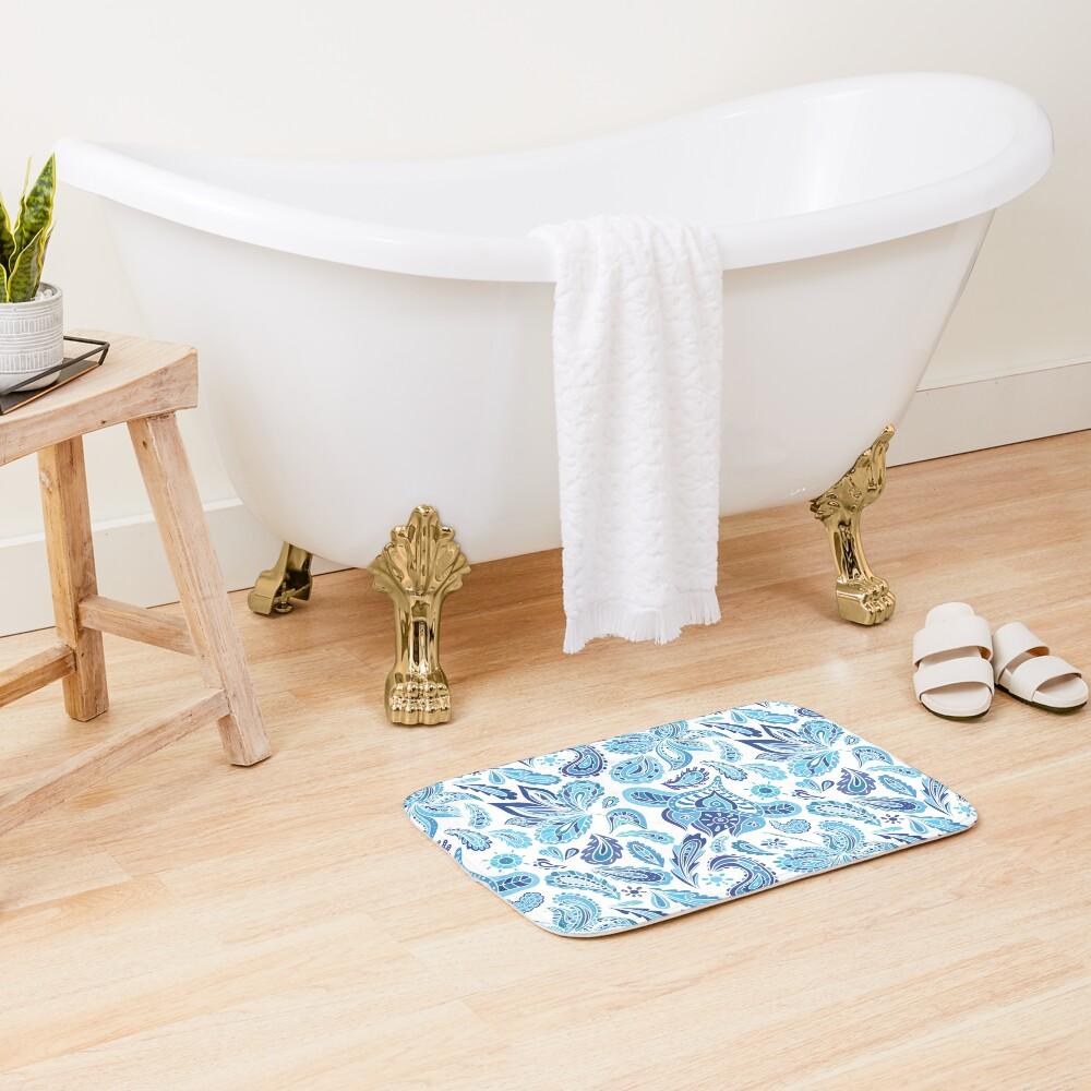 Blue Fresh Indian Pattern Bath Mat