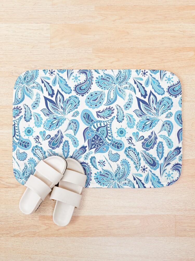 Alternate view of Blue Fresh Indian Pattern Bath Mat