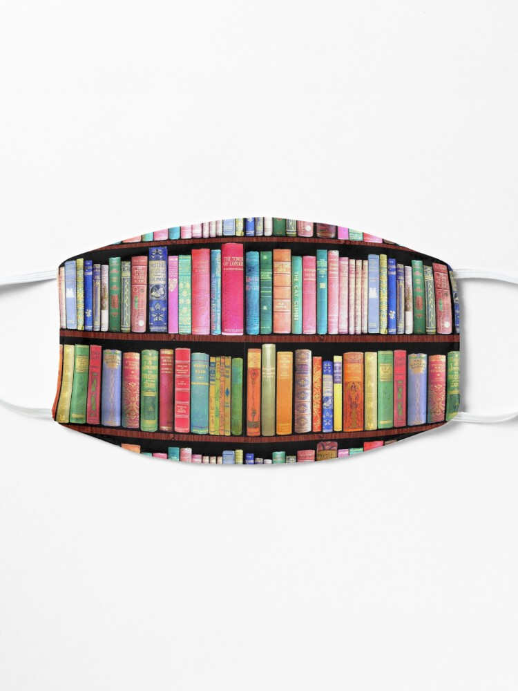 Alternate view of Bookworm Antique book library, vintage book shelf Mask