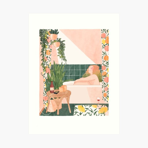 Girl in Bathroom Art Print