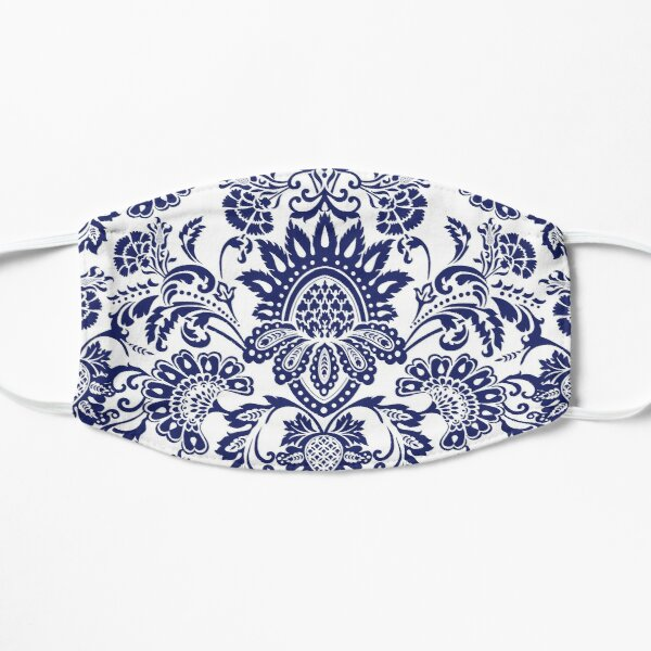 Damask in blue and white (positive) Flat Mask