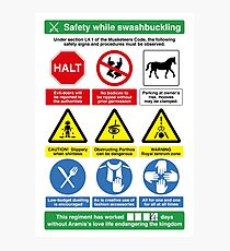 Musketeer Safety Signs (print/card) Photographic Print