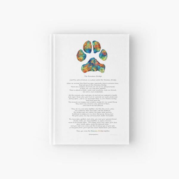 Rainbow Bridge Poem With Colorful Paw Print by Sharon Cummings Hardcover Journal
