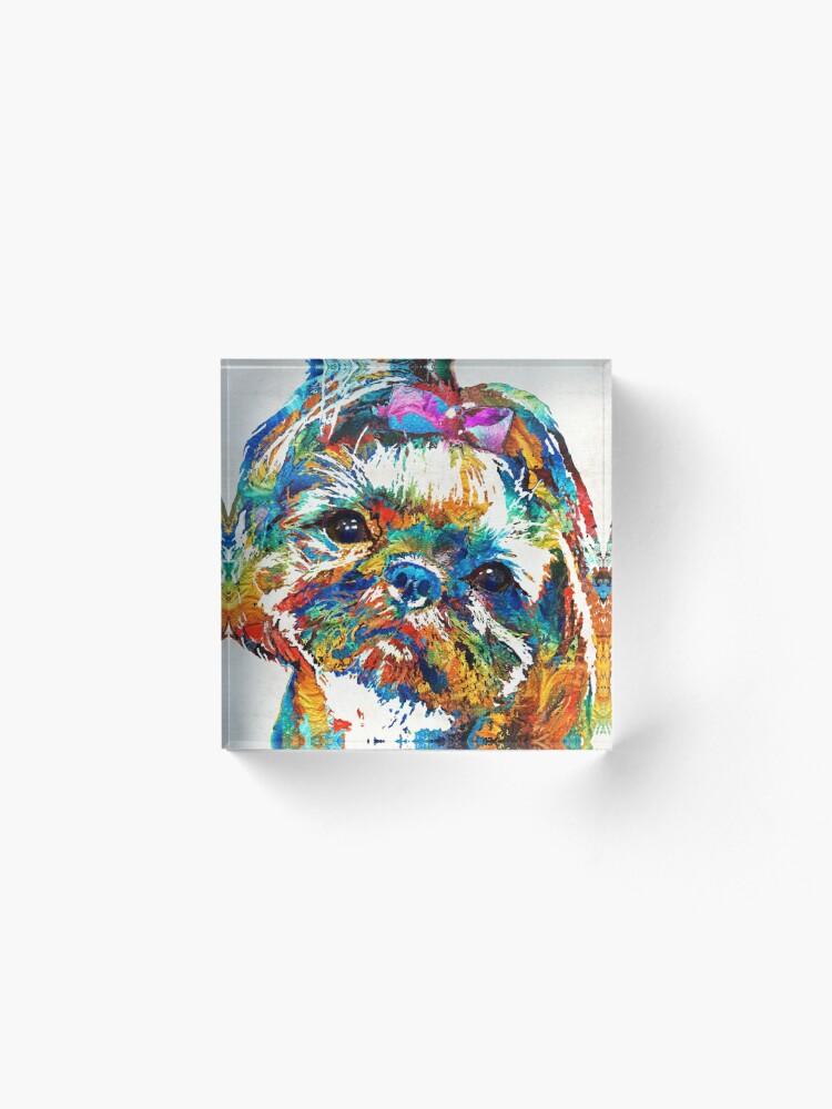 Alternate view of Colorful Shih Tzu Dog Art by Sharon Cummings Acrylic Block