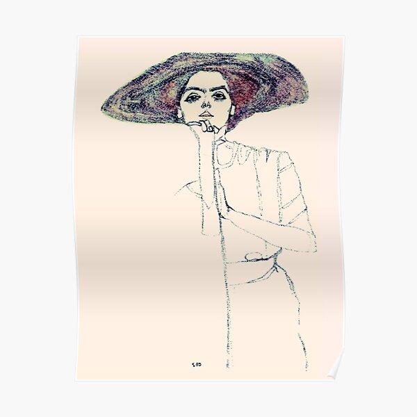 """Egon Schiele """"Portrait of a Woman""""   Retro Portrait of a Girl Poster"""