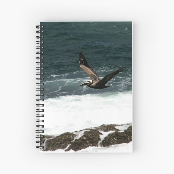 Pelican Flying Over Ocean Spiral Notebook