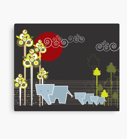 Ellephant Family In The Forest Canvas Print