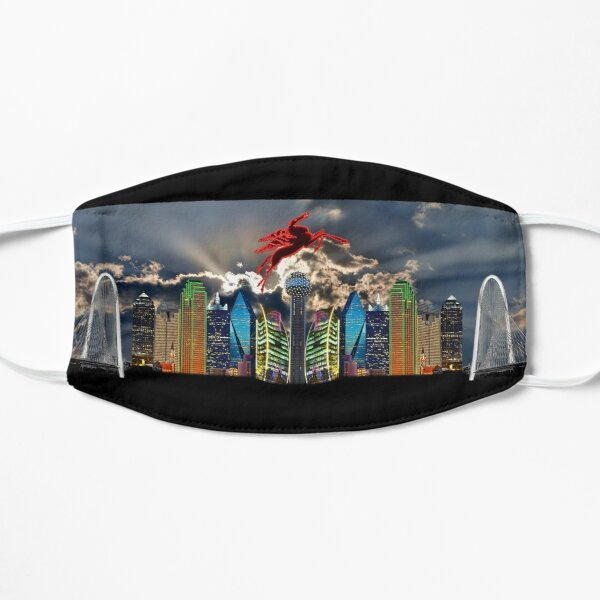 Skyline of Mirrored Dallas Icons With Clouds Mask