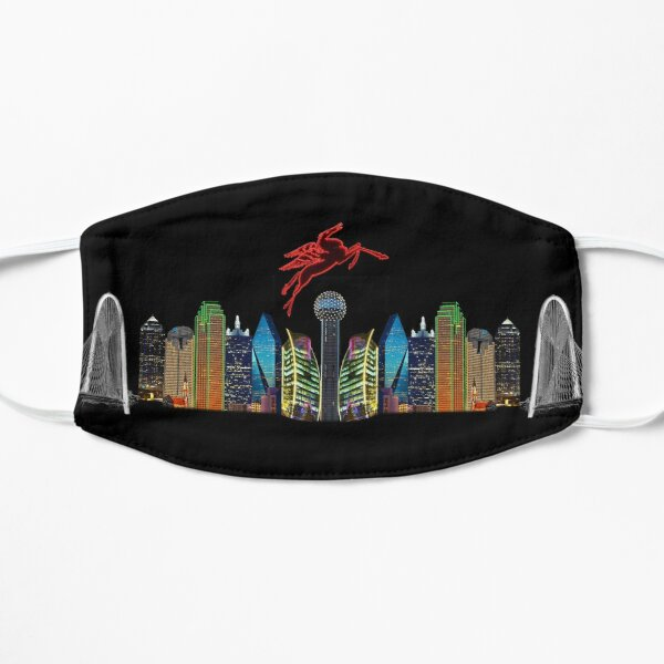 Skyline of Mirrored Dallas Icons With Transparent Background Mask