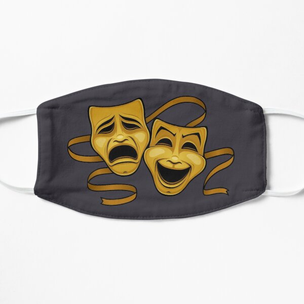 Gold Comedy And Tragedy Theater Masks Flat Mask