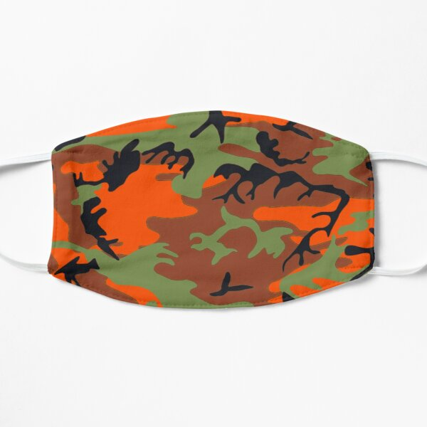 Hunter Orange with Green Camouflage Abstract Pattern, RBSSG Mask