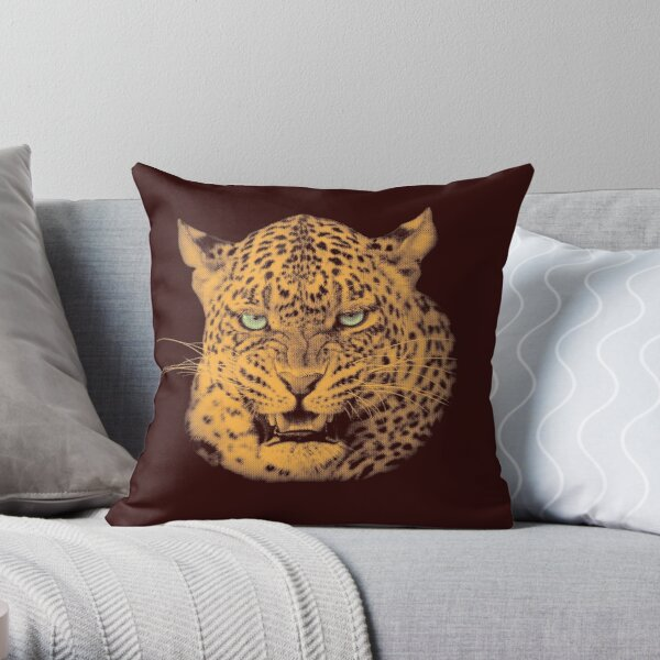Scary Snarling Leopard with Green Eyes Throw Pillow