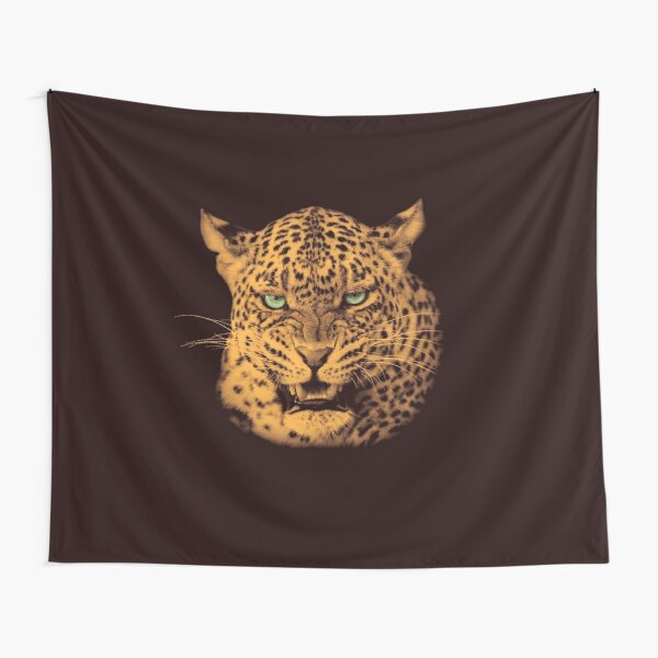 Scary Snarling Leopard with Green Eyes Tapestry