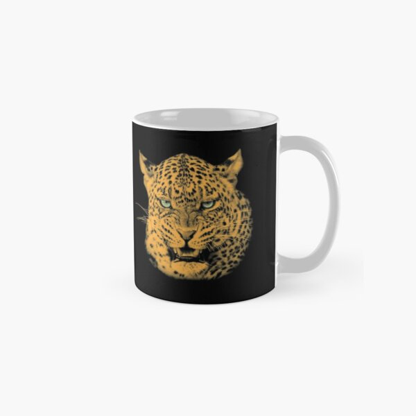 Scary Snarling Leopard with Green Eyes Classic Mug