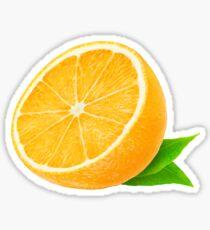 Cut orange with leaves Sticker