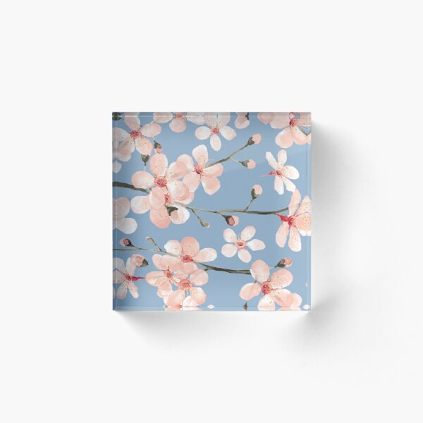 Cherry Blossom, blush pink watercolor on slate blue Acrylic Block