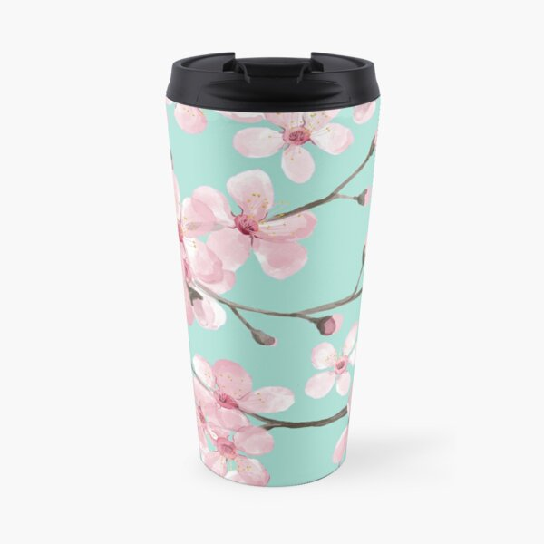 cherry blossom on mint, pink cherry blossom watercolor Travel Mug