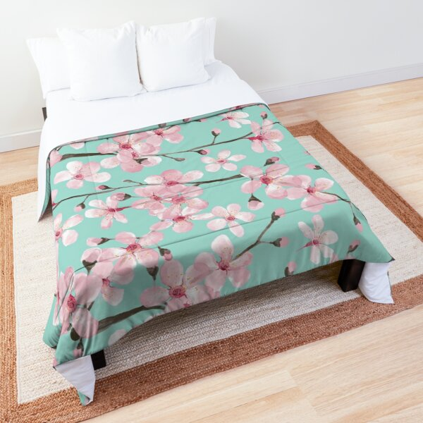 cherry blossom on mint, pink cherry blossom watercolor Comforter