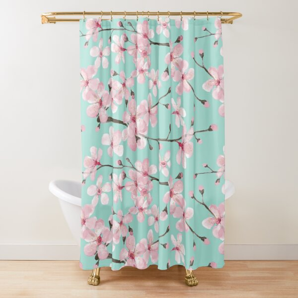 cherry blossom on mint, pink cherry blossom watercolor Shower Curtain