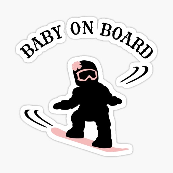 Snowboarding Girl Baby On Board - Dark Sticker
