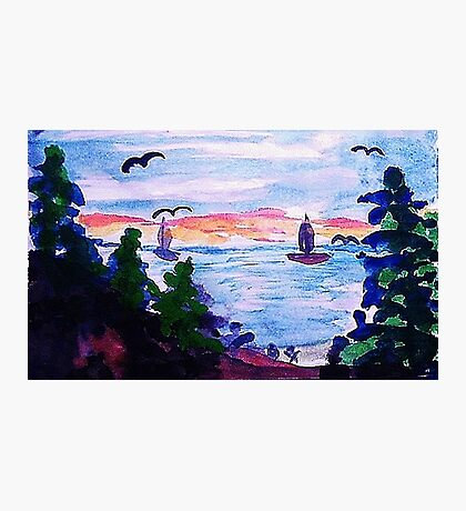 A cool day by the lake, watercolor Photographic Print