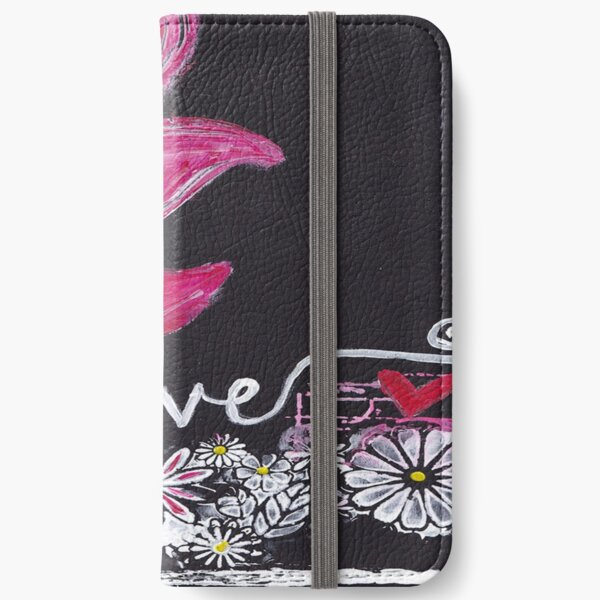 Pink Floral Love iPhone Wallet
