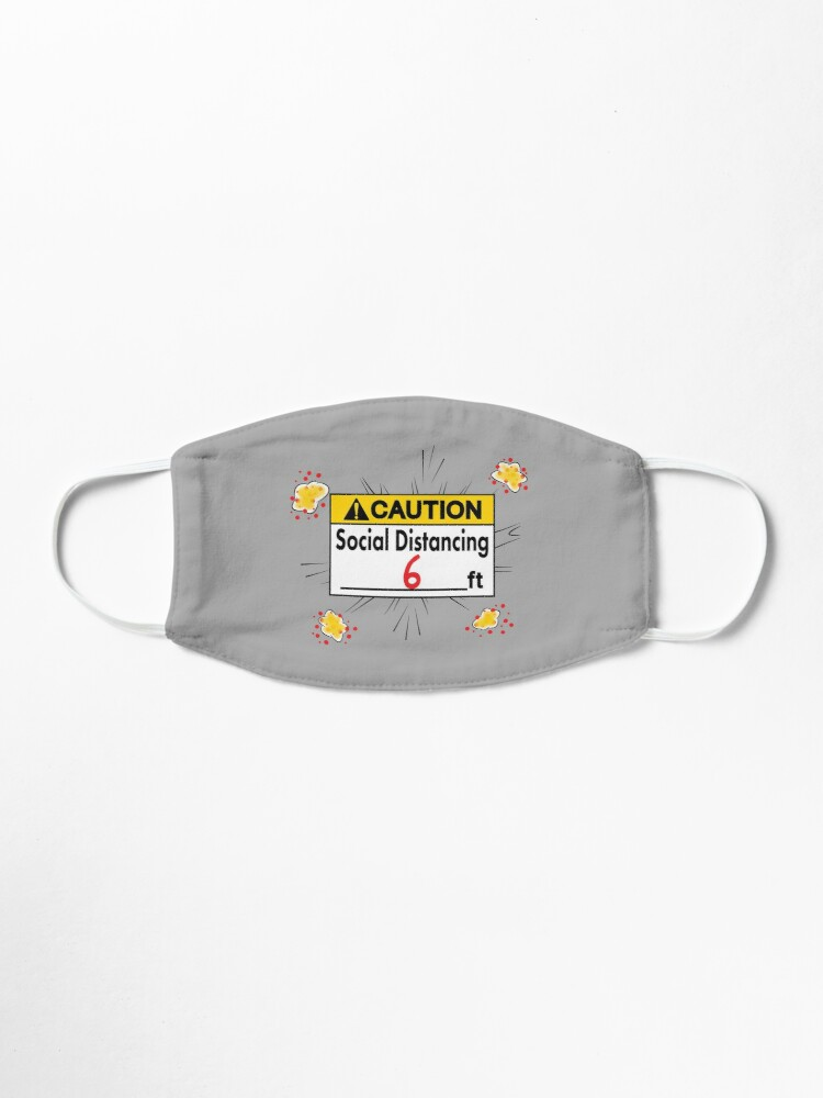 Alternate view of Caution Social Distancing 6 Ft. Mask