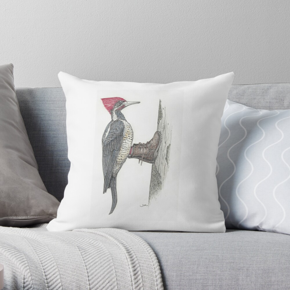 Woodpecker in logging boots Throw Pillow