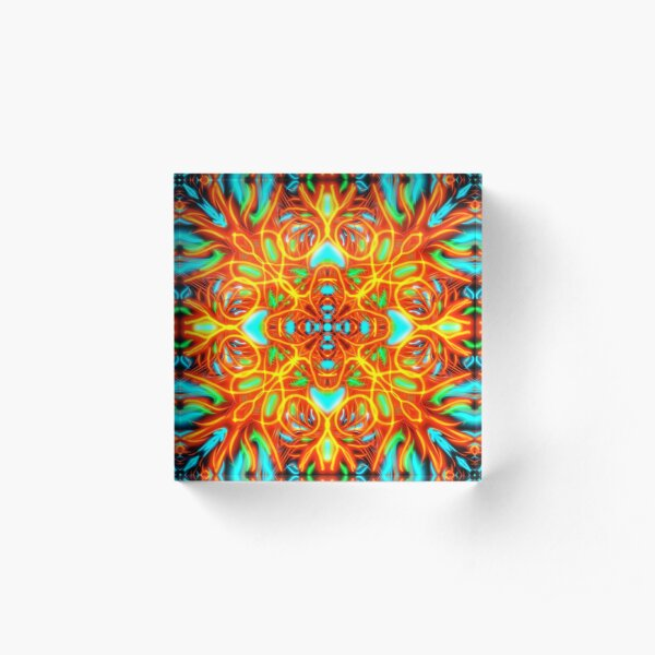 Trippy Abstract Fire Fight  Acrylic Block