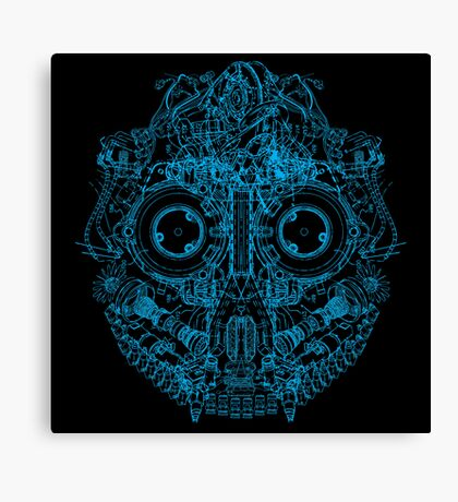 Robot Skull - blue Canvas Print