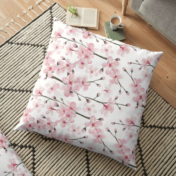 Cherry Blossom watercolor fashion and home decor by Magenta Rose Designs Floor Pillow