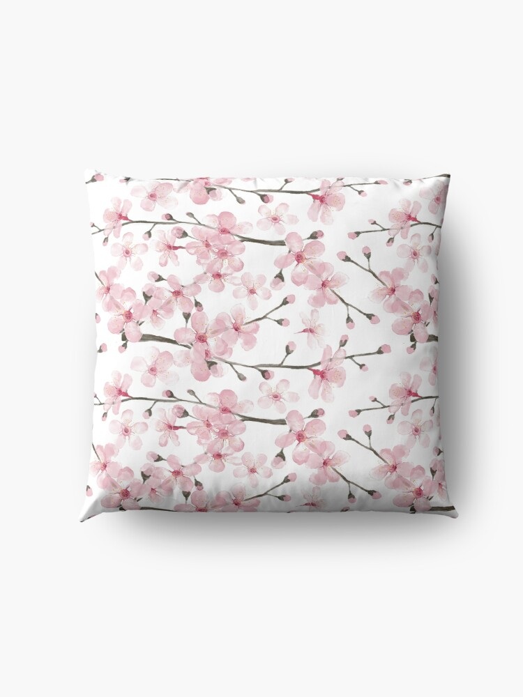Alternate view of Cherry Blossom watercolor fashion and home decor by Magenta Rose Designs Floor Pillow