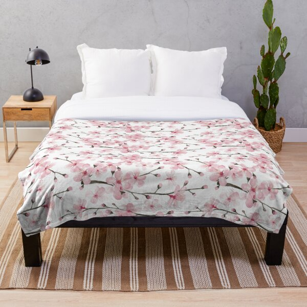 Cherry Blossom watercolor fashion and home decor by Magenta Rose Designs Throw Blanket