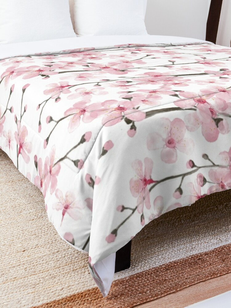 Alternate view of Cherry Blossom watercolor fashion and home decor by Magenta Rose Designs Comforter