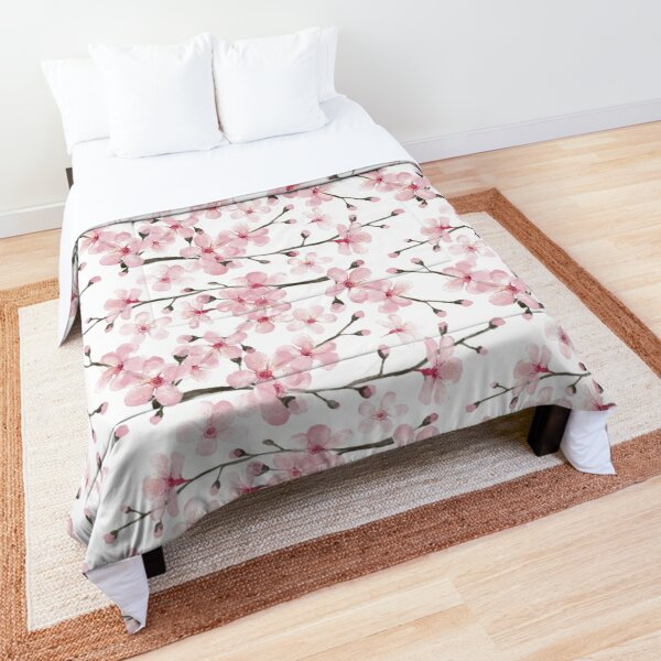 Cherry Blossom watercolor fashion and home decor by Magenta Rose Designs Comforter