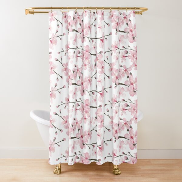 Cherry Blossom watercolor fashion and home decor by Magenta Rose Designs Shower Curtain