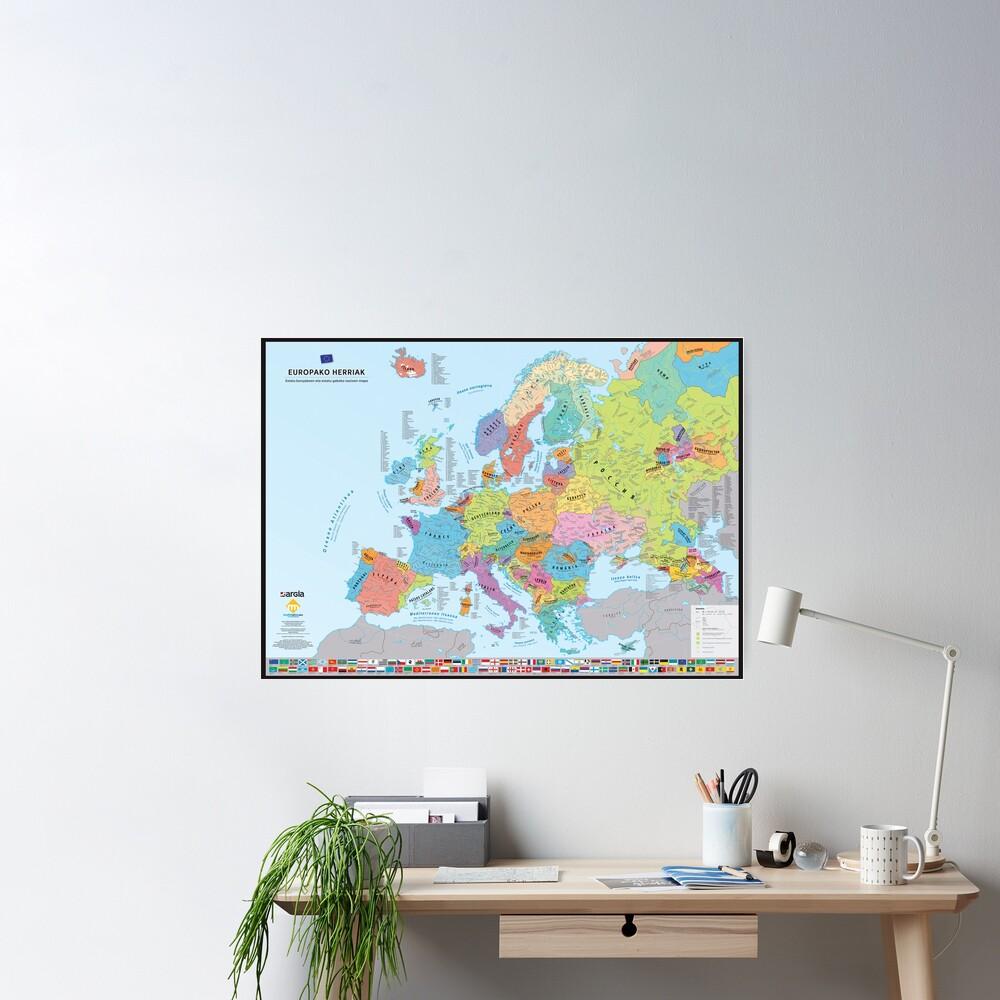 "Poster «""Europako Herriak"" : Carte des nations historiques d'Europe (en basque)»"