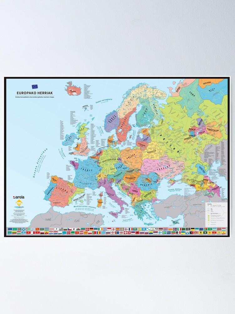 """Poster ''""""Europako Herriak"""" : Carte des nations historiques d'Europe (en basque)': autre vue"""