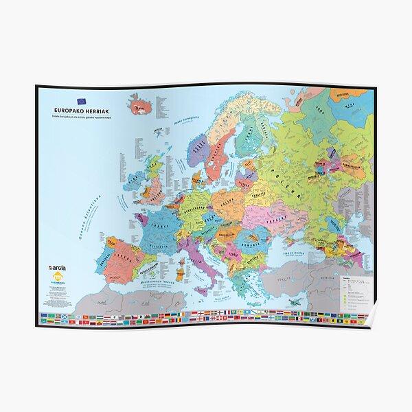 """Europako Herriak"" : Carte des nations historiques d'Europe (en basque) Poster"