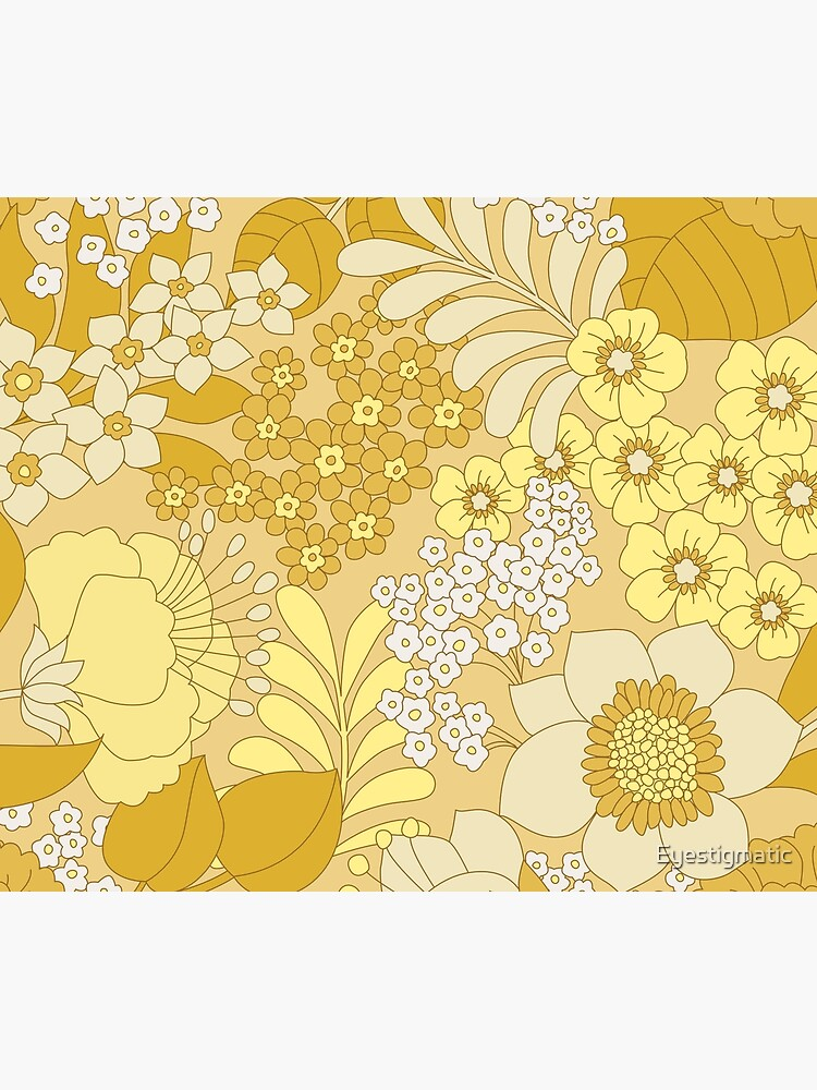 Yellow, Ivory & Brown Retro Floral Pattern by Eyestigmatic