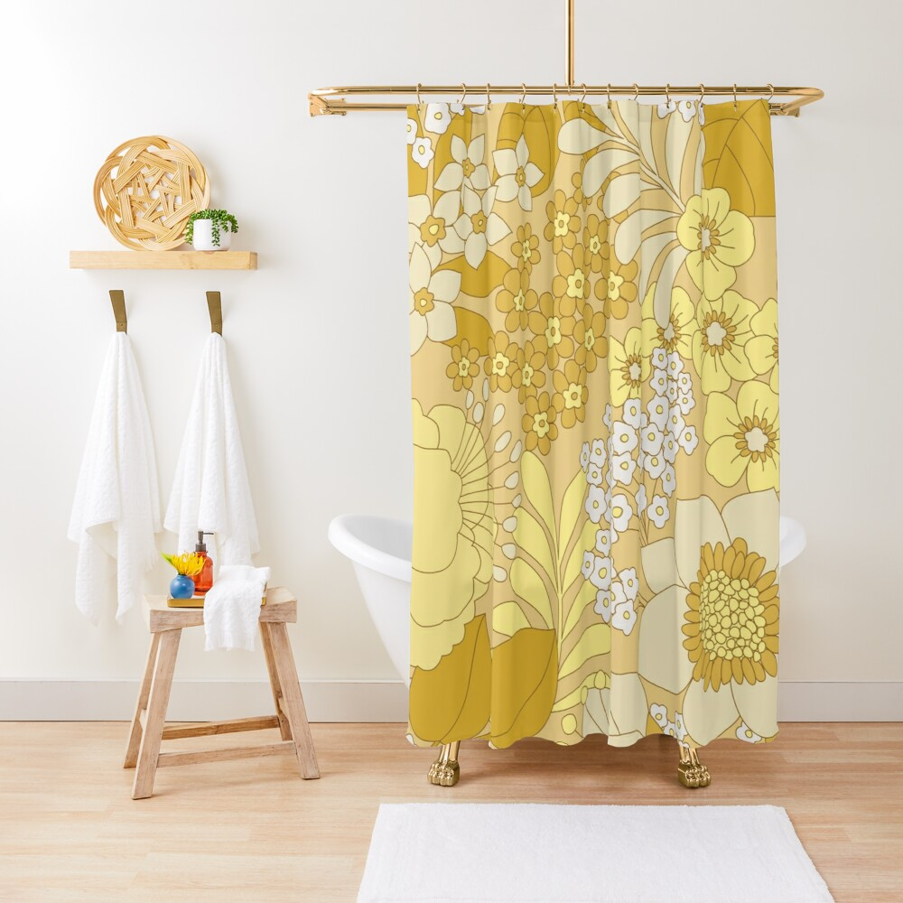 Yellow, Ivory & Brown Retro Floral Pattern Shower Curtain