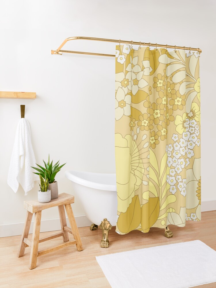 Alternate view of Yellow, Ivory & Brown Retro Floral Pattern Shower Curtain